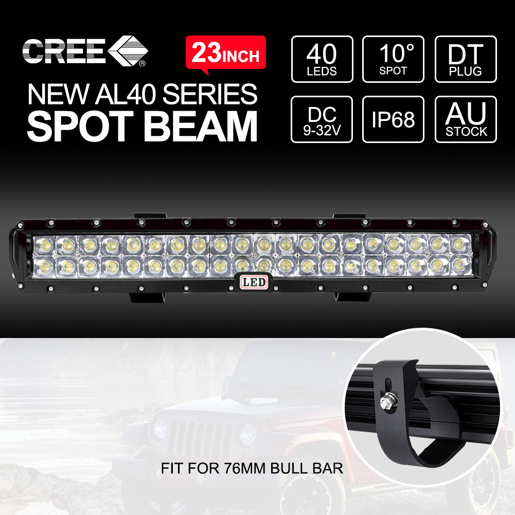 23 Inch Spot Cree Led Light Bar 40leds For 76mm Front Bumper Arb H4 Wiring Harness Description