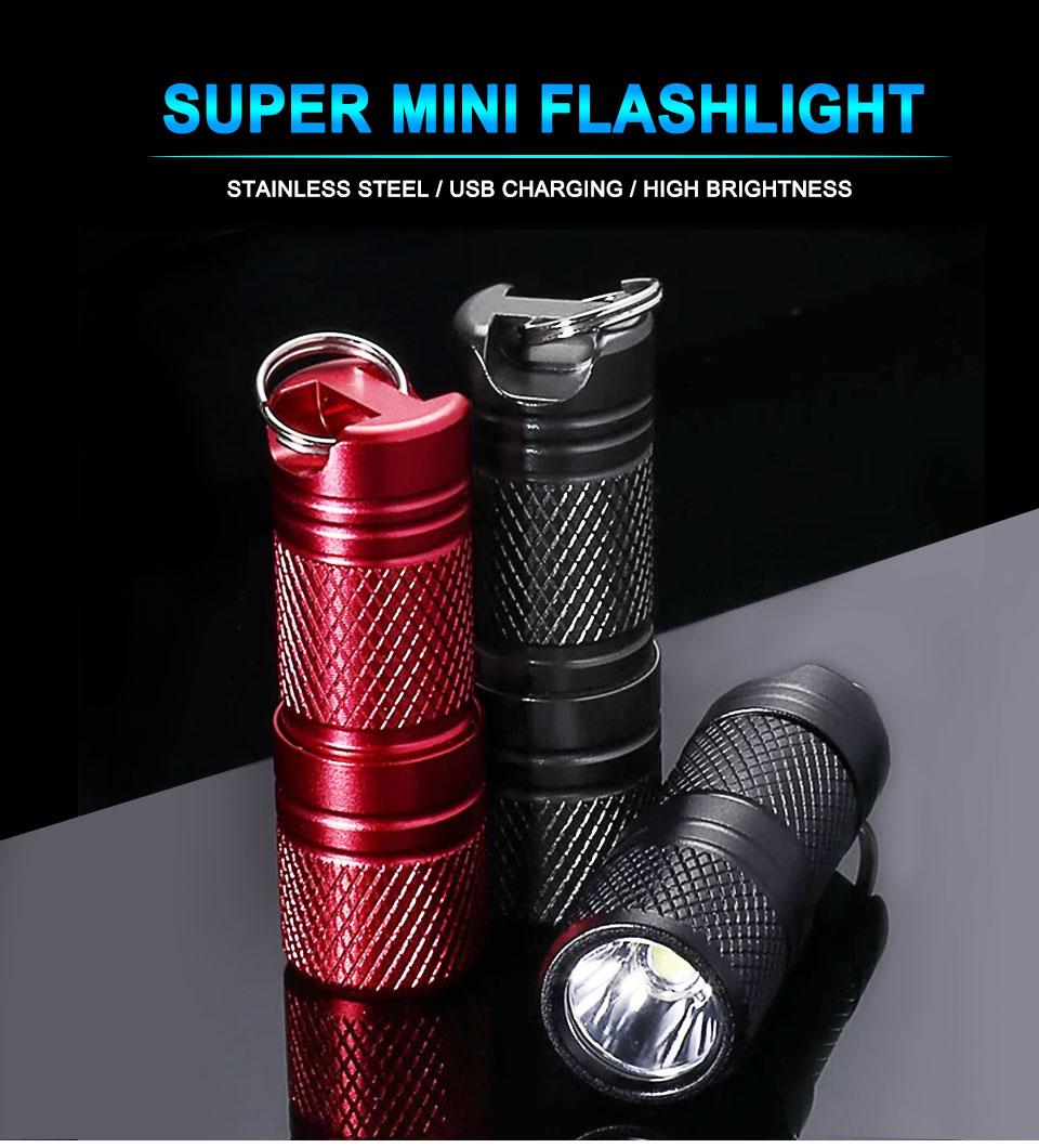 Waterproof Mini Pocket LED Flashlight USB Rechargeable LED Torch Penlight Lamp