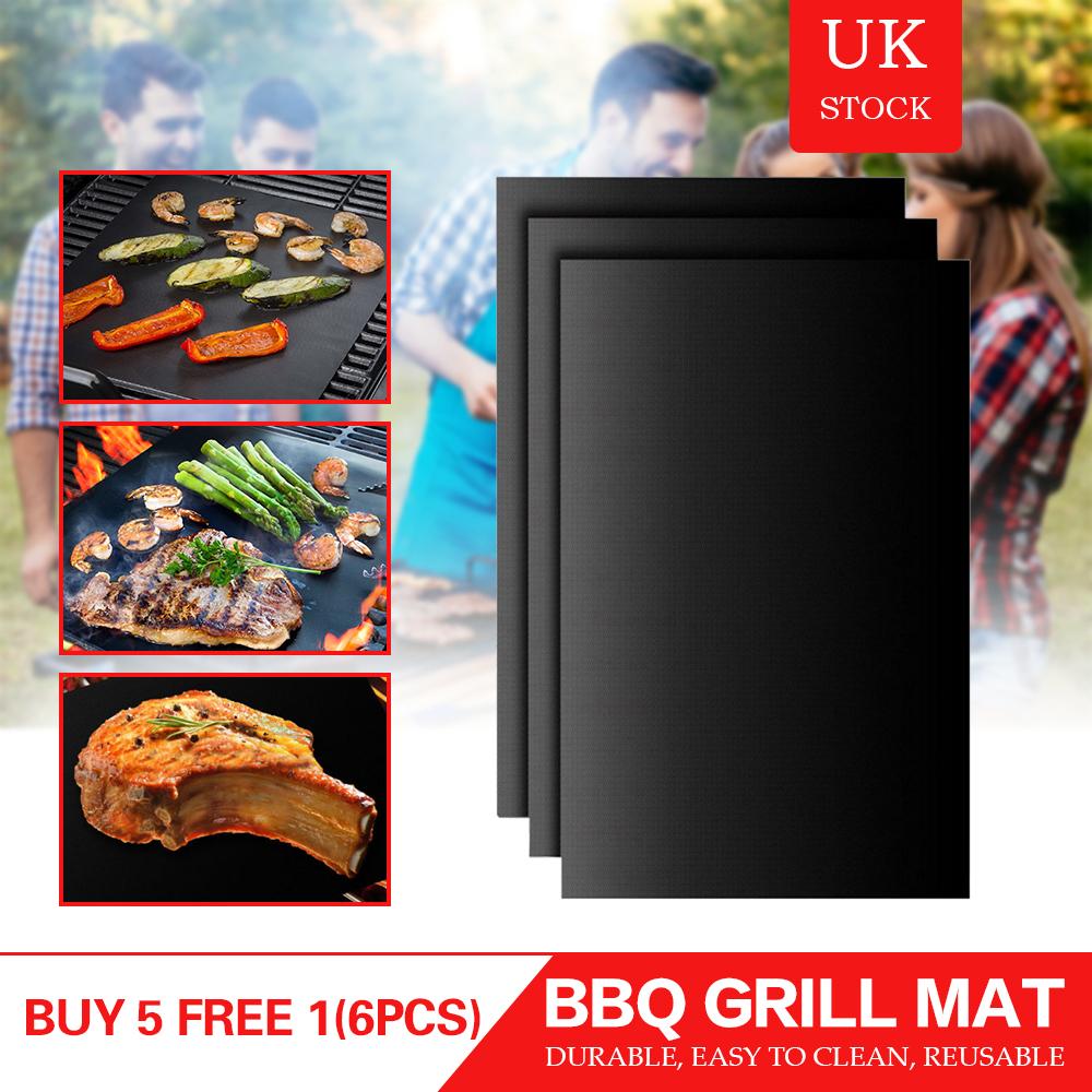 6pcs BBQ Grill Mat Heat Resistant Sheet Non Stick Reusable