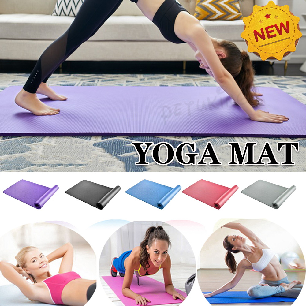 Pilates Mats Extra Thick Stretching Mats for Home Floor Mat for Exercise Fitness Mats for Home Foam Mats Cushioned Exercise Floor Mat with Carry Strap Yoga Mat Non Slip
