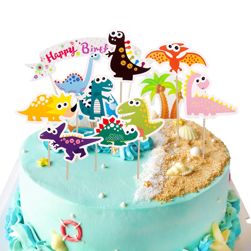 Details About 9 Pcs Dinosaur Colorful Cake Toppers Papery Table Decoration Cupcake Decoration