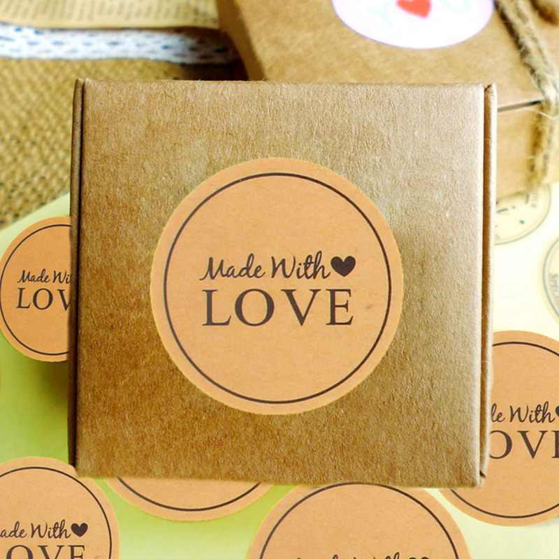 Handmade Thank You Sticker Label Gift Kraft Paper Stickers Wedding Seals Bakery