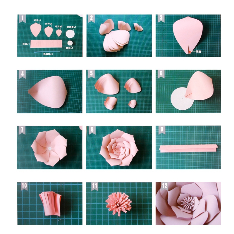Paper Flower Backdrop Wall 20cm Giant Rose Flowers DIY Wedding Party ...