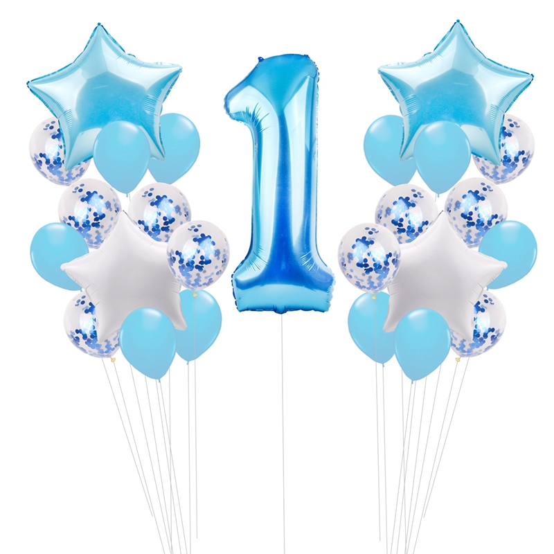25pcs Happy First Birthday Balloons Set 1 Year Old Baby Boy Girl Party Decor