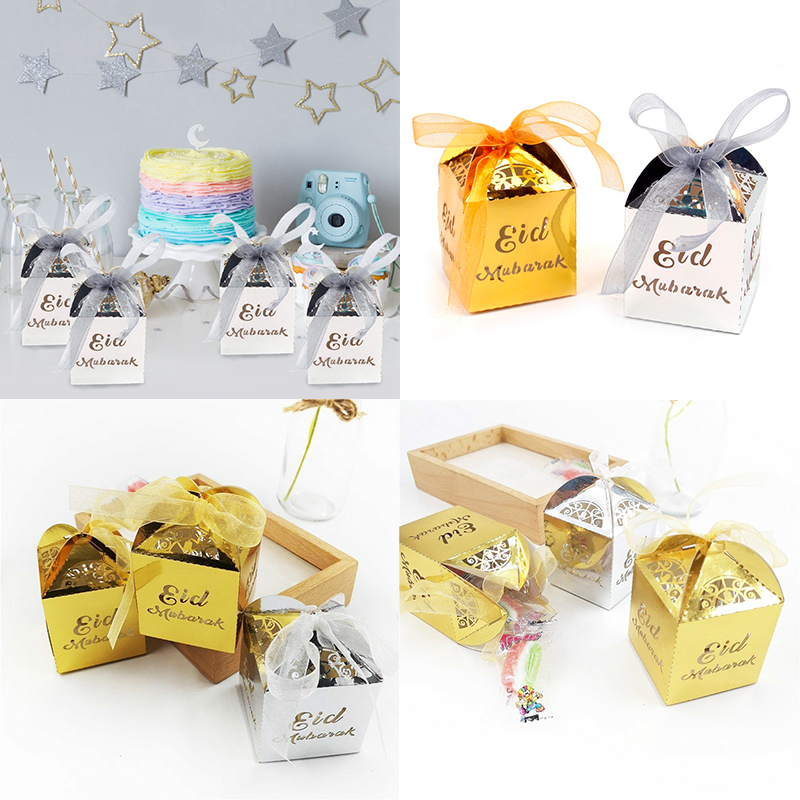 Details About 10 Pcs Happy Eid Mubarak Paper Gift Candy Box Ramadan Decorations Islamic Party