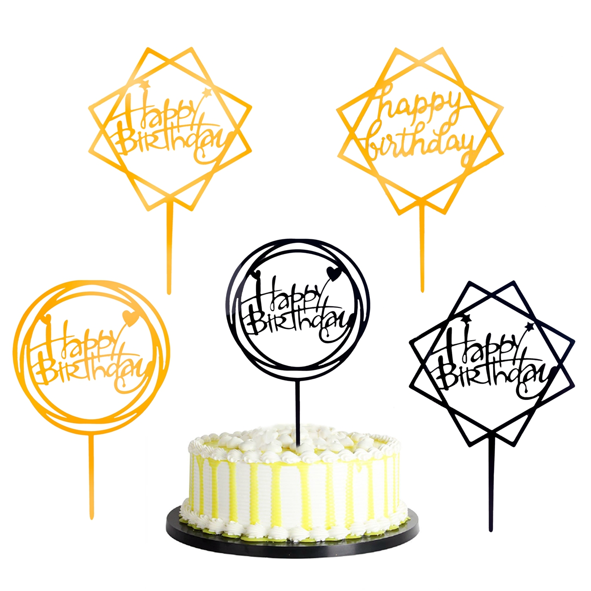 Gold Happy Birthday Cake Topper Card Acrylic Cake Party Decoration