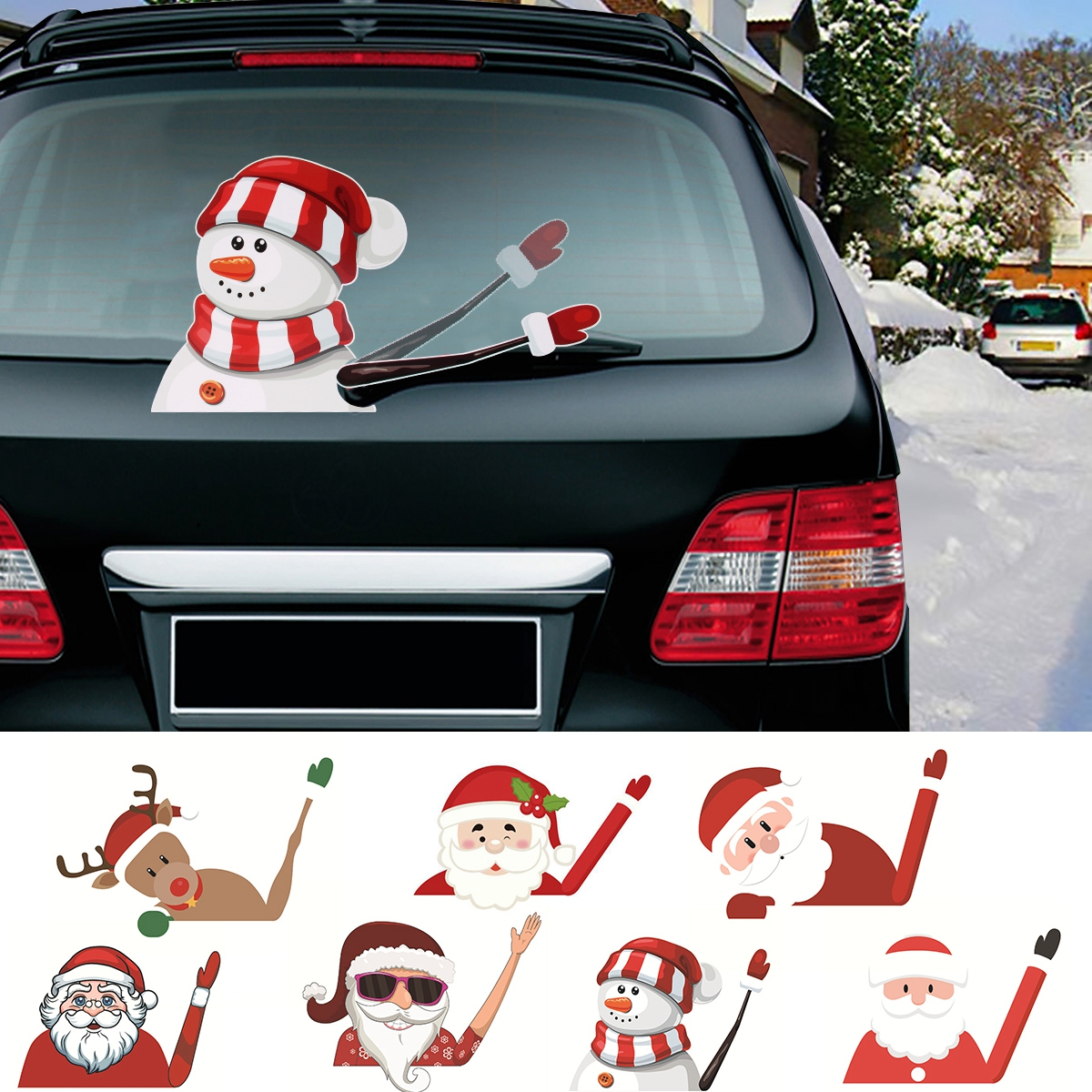 Details About Merry Christmas Snowman Wiper Decals Waving Car Decoration 2019 Gift