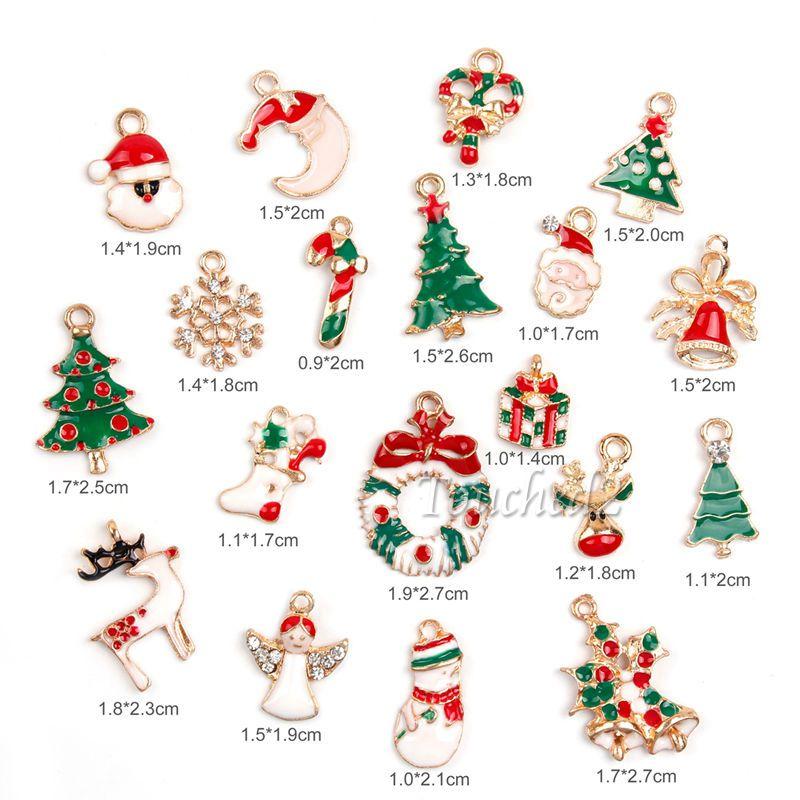 Metal Alloy Mixed Christmas Charms Set Jewellery DIY Pendants Party Xmas Decor