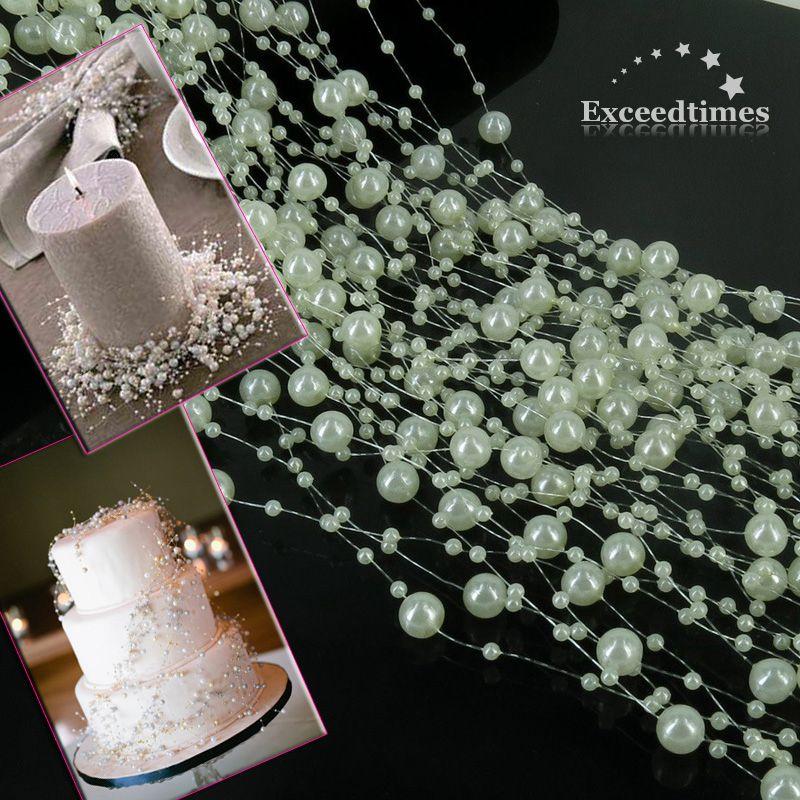 White Pearl Beads Strand Garland Acrylic Wedding Pearl: String Ivory White Pearl Acrylic Bead Garland Spool