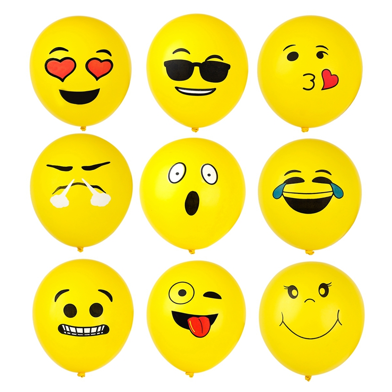 10Pcs Latex Cute Emoji Face Balloons For Festival Birthday Party Xmas Decoration