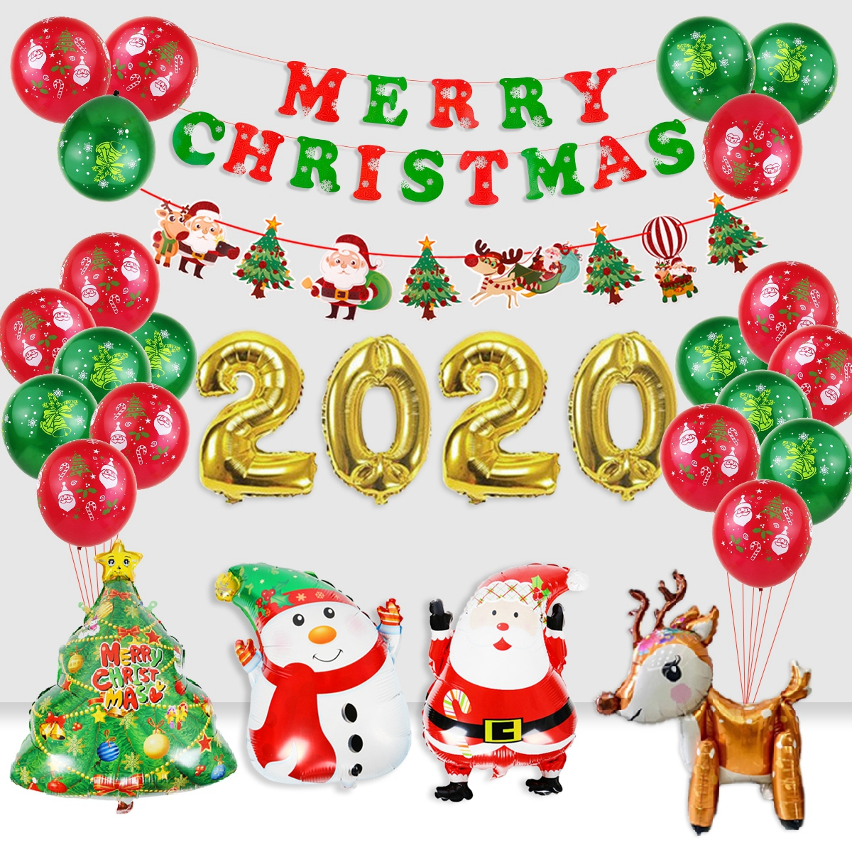 Details About 30pc Merry Christmas Foil Balloons Banner Santa Claus Party Decor Happy New Year