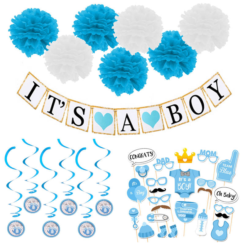 9c5f9e7a8 Baby Shower It s A Boy Girl Photo Props Paper Pom Poms Bunting ...