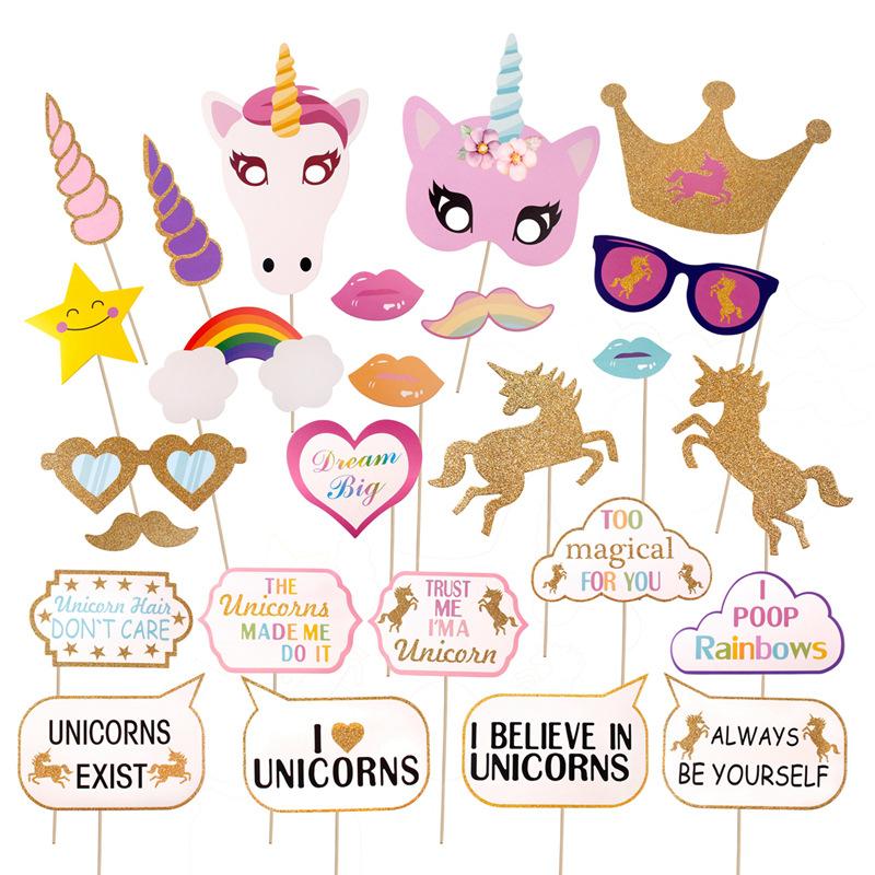 Unicorn cabina de fotos accesorios arco iris nia beb cumpleaos unicorn photo booth props rainbow girl baby birthday party decor mask glitter solutioingenieria Images