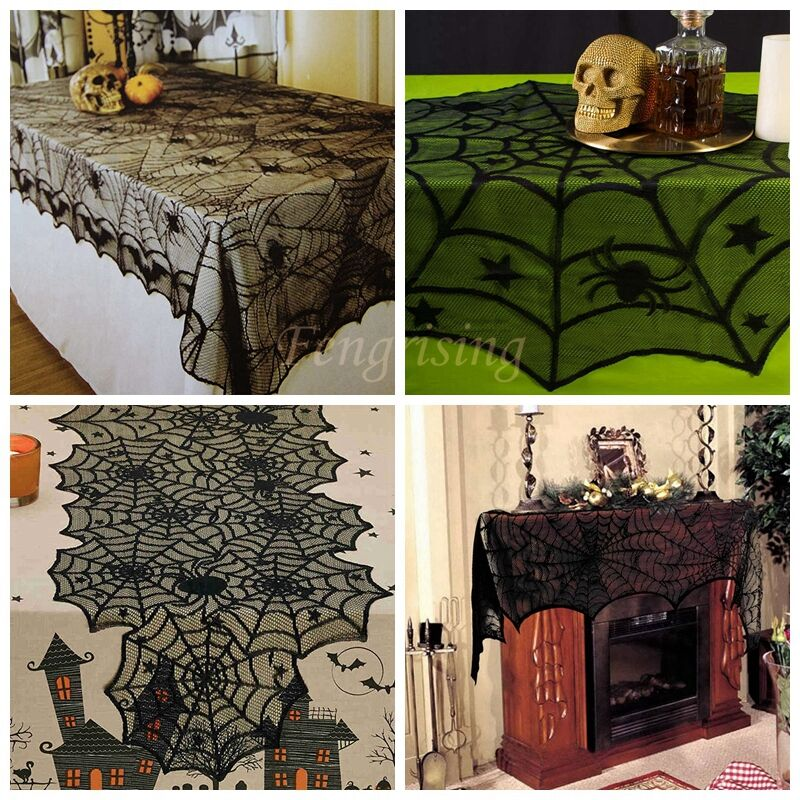 Black Halloween Cloth Decor Lace Spiderweb Tablecloth Fireplace Mantel Scarf