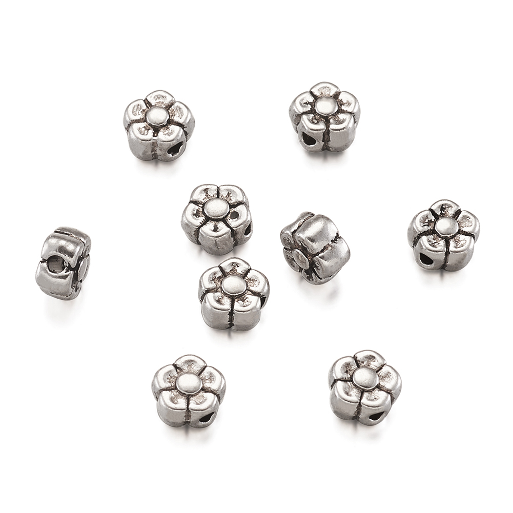 300pcs Tibetan Alloy Daisy Flower Metal Beads Dotted Tiny Loose Spacers 5x1.5mm