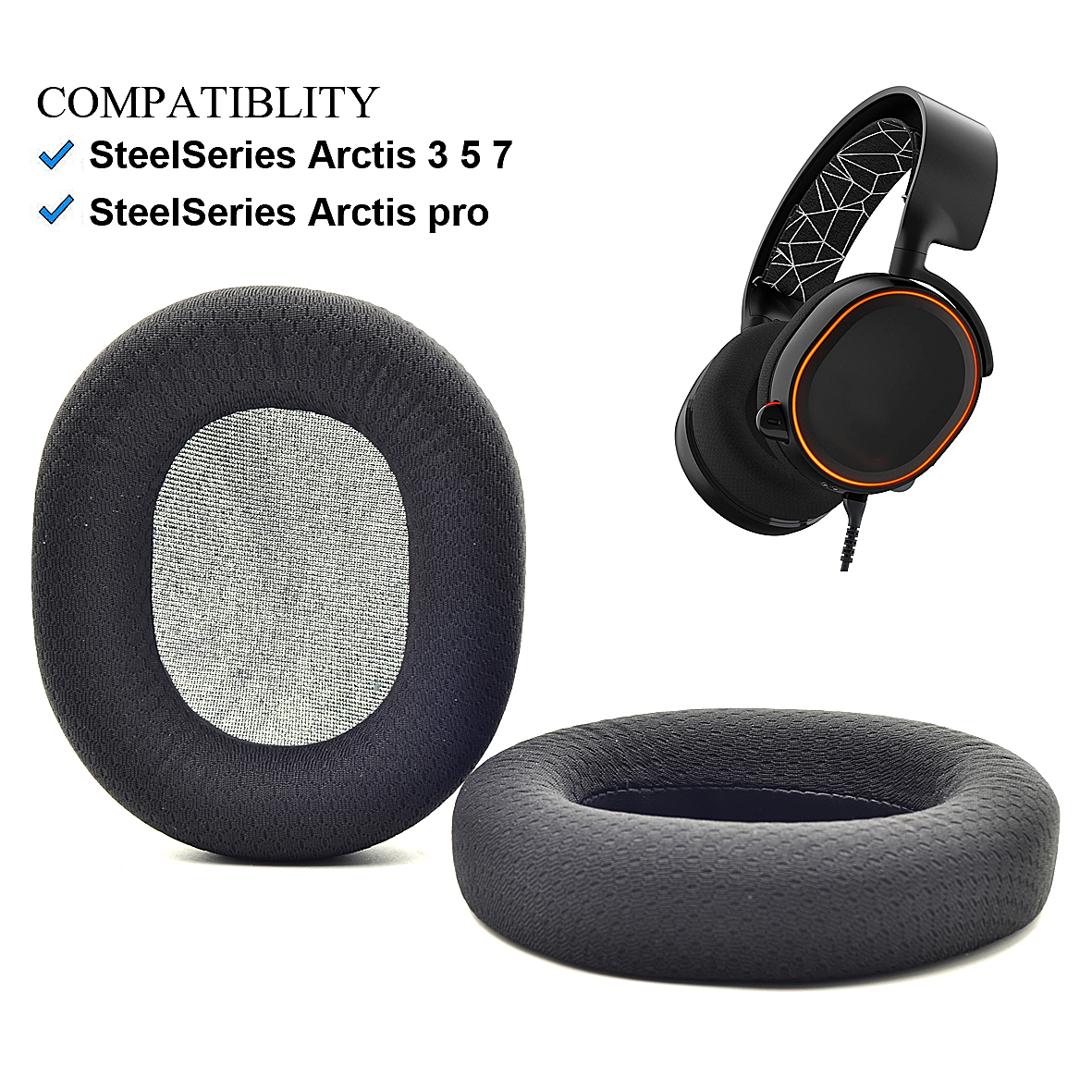 Details about Black fabric Ear pads cushion for SteelSeries Arctis 3 5 7 Arctis pro Headphone