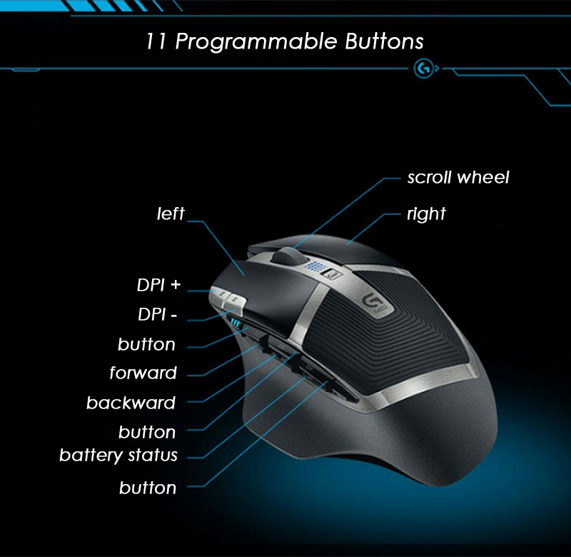 Details about Logitech G602 Lag-Free Wireless Gaming Mouse 11 Programmable  Buttons 1440 Hours