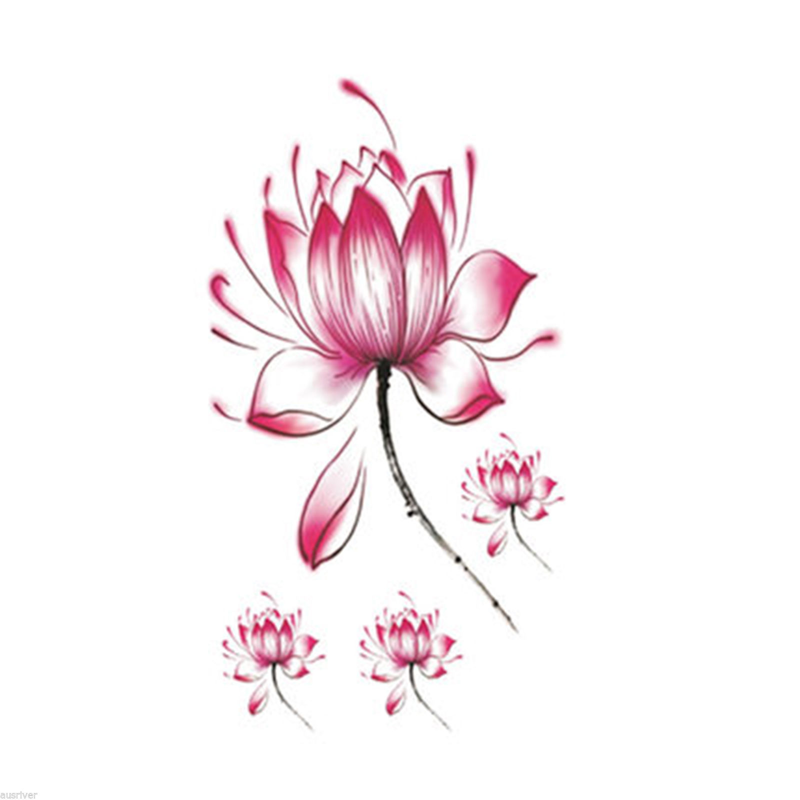 Waterproof Womens Lotus Flower Tattoo Temporary Arm Body Art