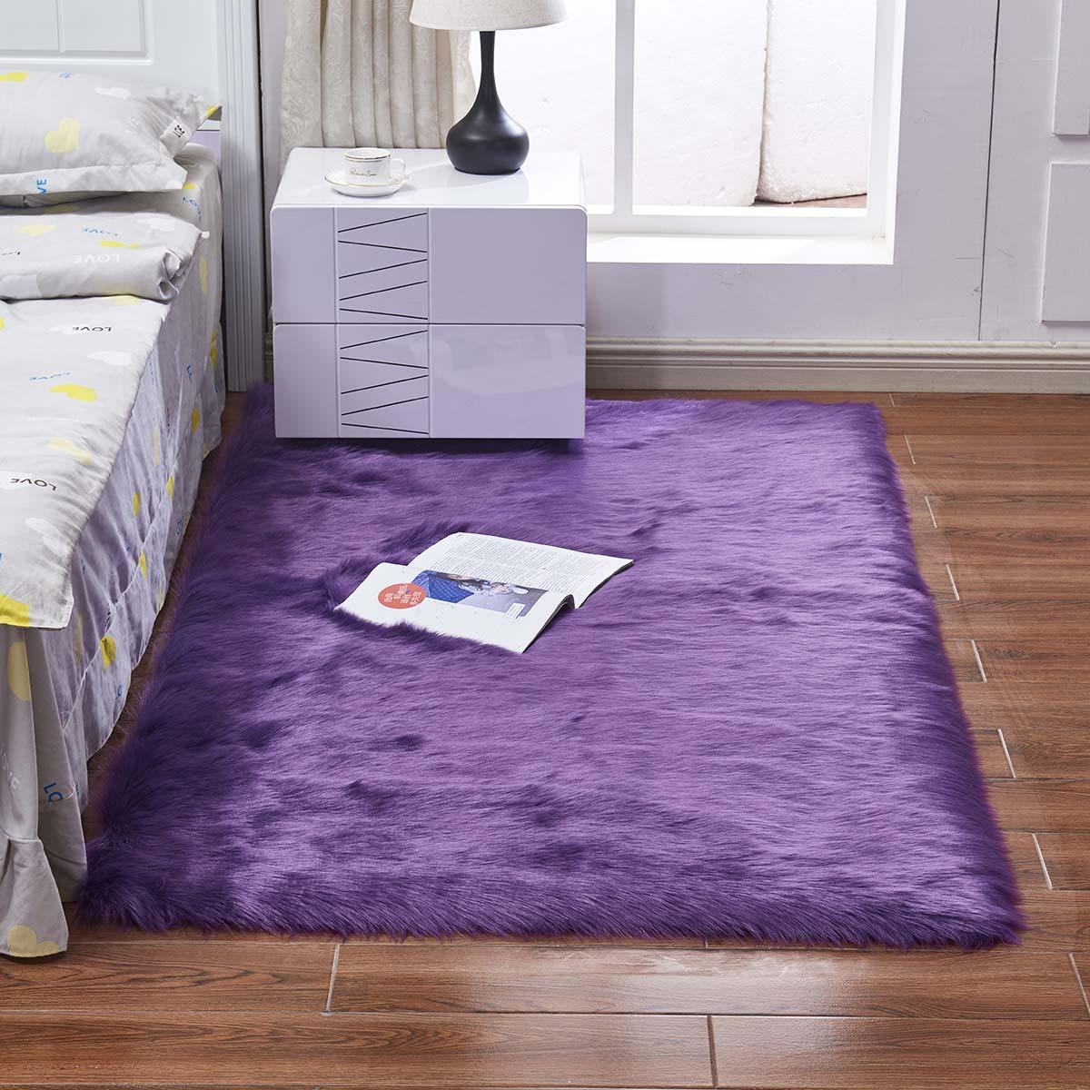 Artificial Wool Home Bedroom Fluffy Area Rug Floor Mat