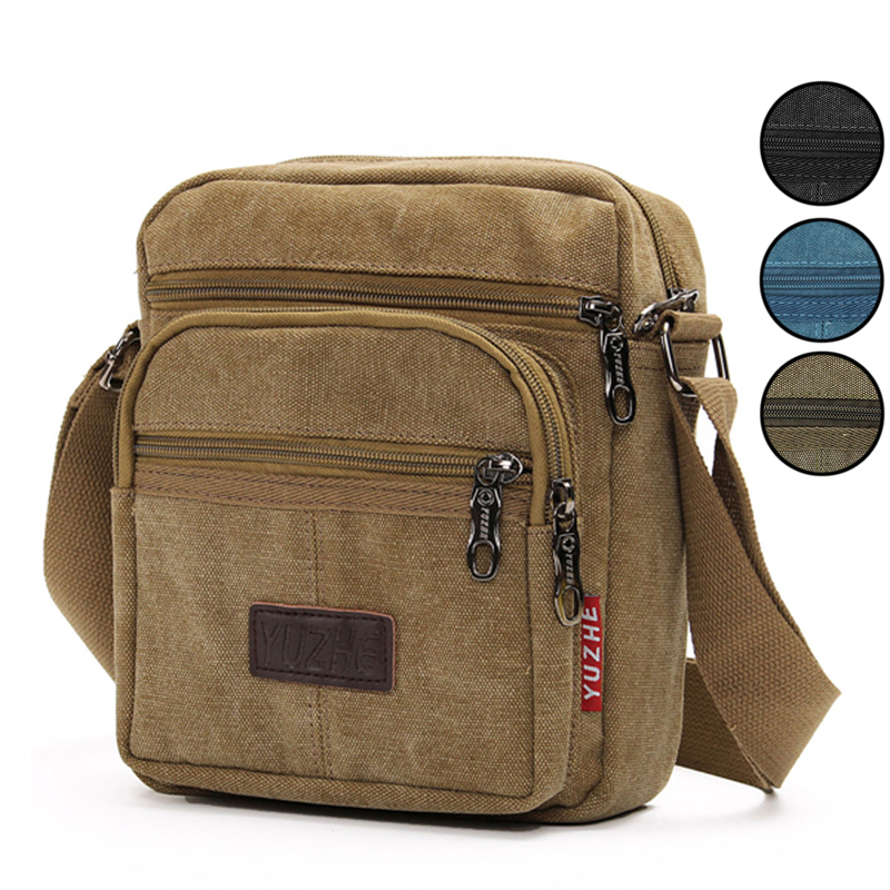 89917055ee6c8 Mens Retro Canvas Shoulder Bag Multi Pockets Casual Crossbody AU Messenger  Bags