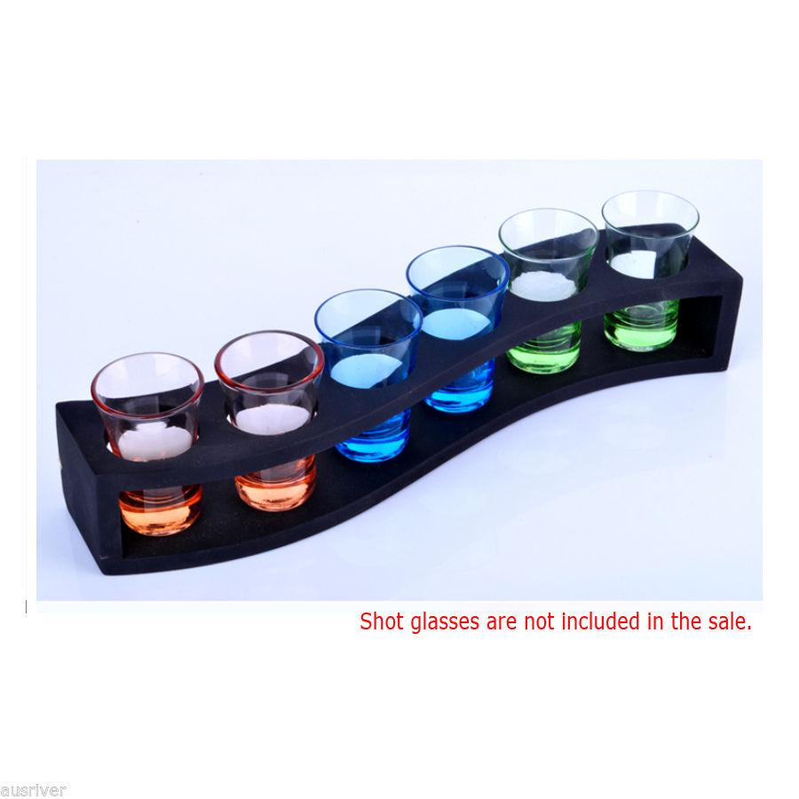 S-Shape Black Wooden Shot Glasses Rack//Stand//Serving Tray for Home Bar Pub Party Restaurant Black S-Shape 6 Holes Shot Glass Holder