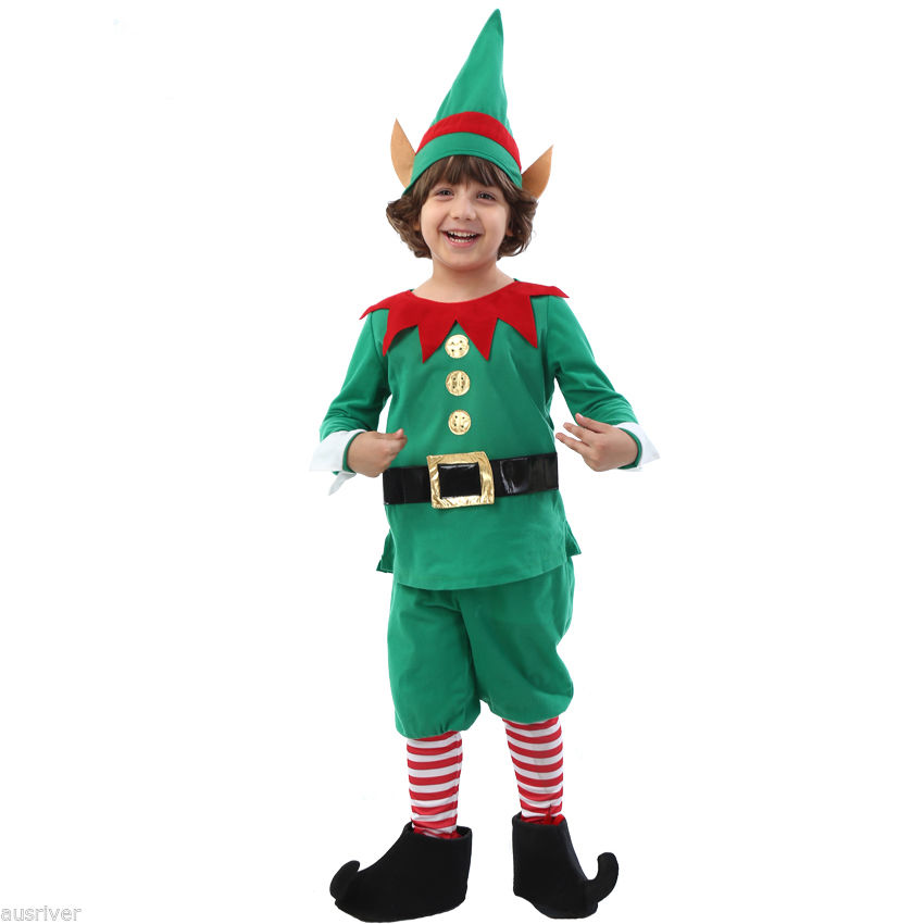 Christmas Elf Costume.Child Christmas Elf Costume Santa Helper Xmas Fancy Dress Up