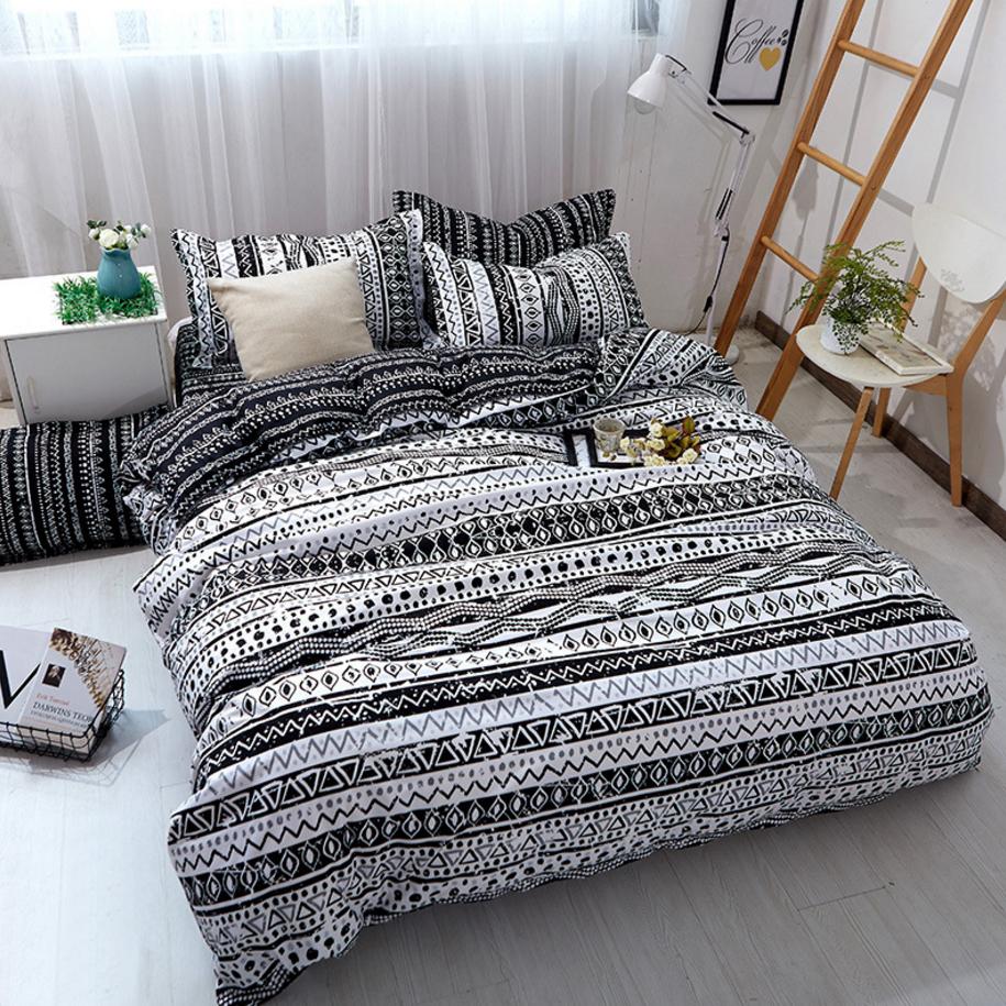 Single//Double//Queen Size Stripe Pattern Bed 3pcs Quilt Duvet Doona Cover Set
