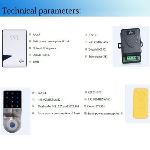 Wireless Door Bell Digital Password Touch Screen Smart