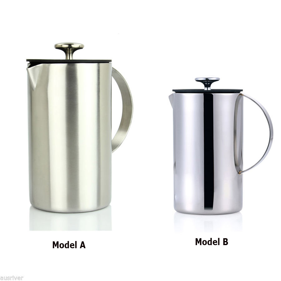 1200ml double layers stainless steel coffee plunger french press tea maker home ebay. Black Bedroom Furniture Sets. Home Design Ideas