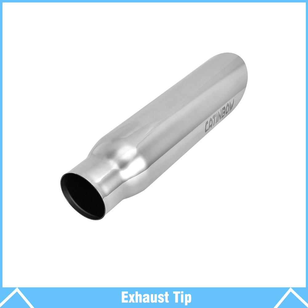 """16/"""" Long Black Stainless Steel Exhaust Tip 2.25/"""" Inlet 3/"""" Outlet"""