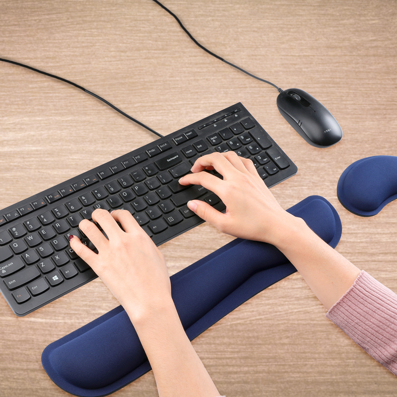 Memory Foam Keyboard Gel Silica Mouse Pad and Wrist Rest Pad with Wrist Supports