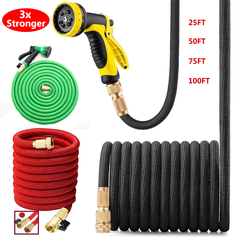 and Stronger Than Ever with Brass Fittings and On//Off Valve 2019 Model Kink-Free 304 Stainless Steel Metal 100 Foot Garden Hose Heavy Duty Lightweight Bionic Steel PRO Garden Hose