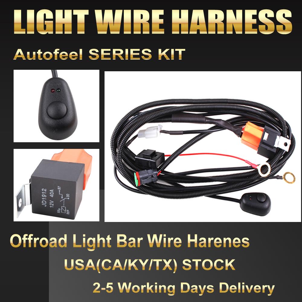 12V 40A LED Work Fog Light Bar Wiring Harness Relay Kit ON/OFF ...