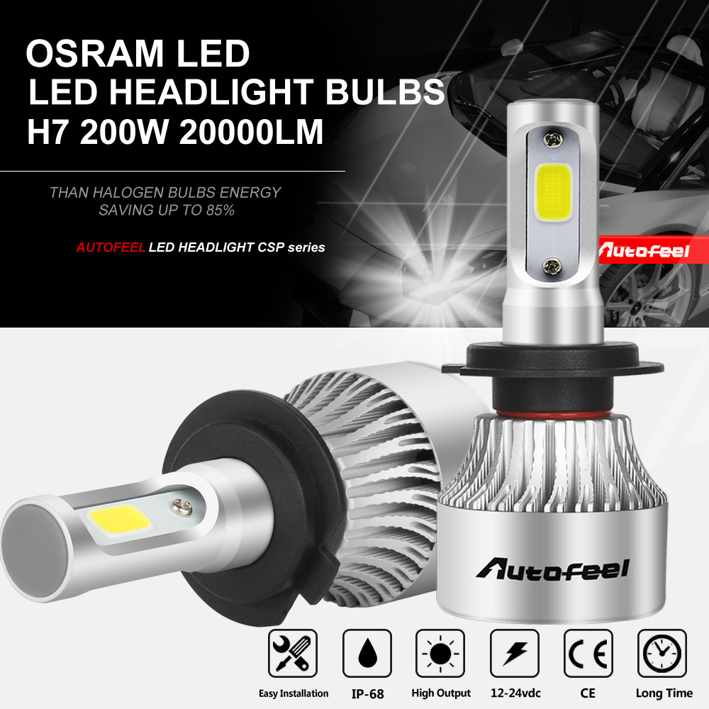h7 osram led headlight bulbs conversion kit 200w 20000lm. Black Bedroom Furniture Sets. Home Design Ideas