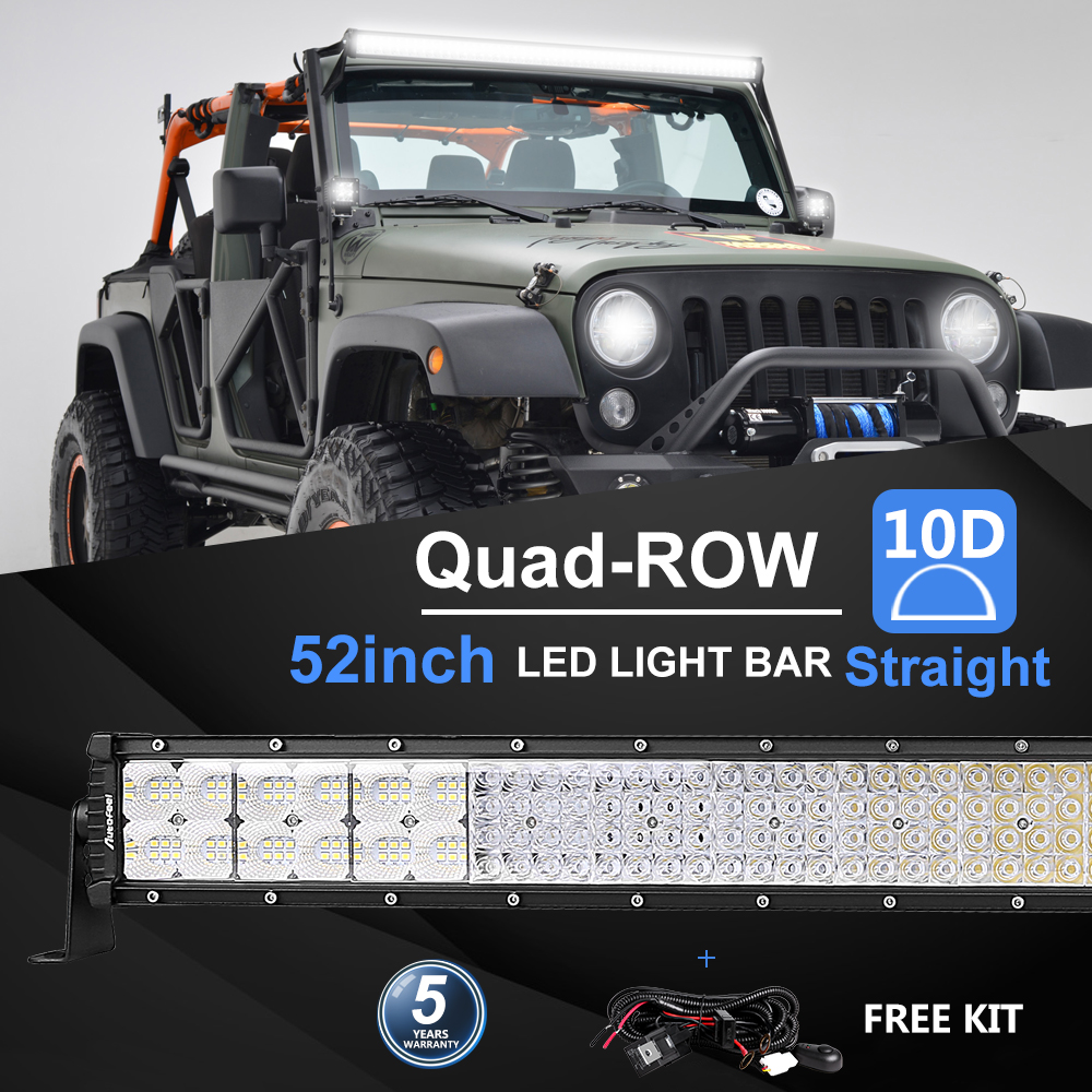 Curved 52INCH 6272W QUAD ROWS  LED Light Bar Combo Driving Lamp 4WD Truck 9D