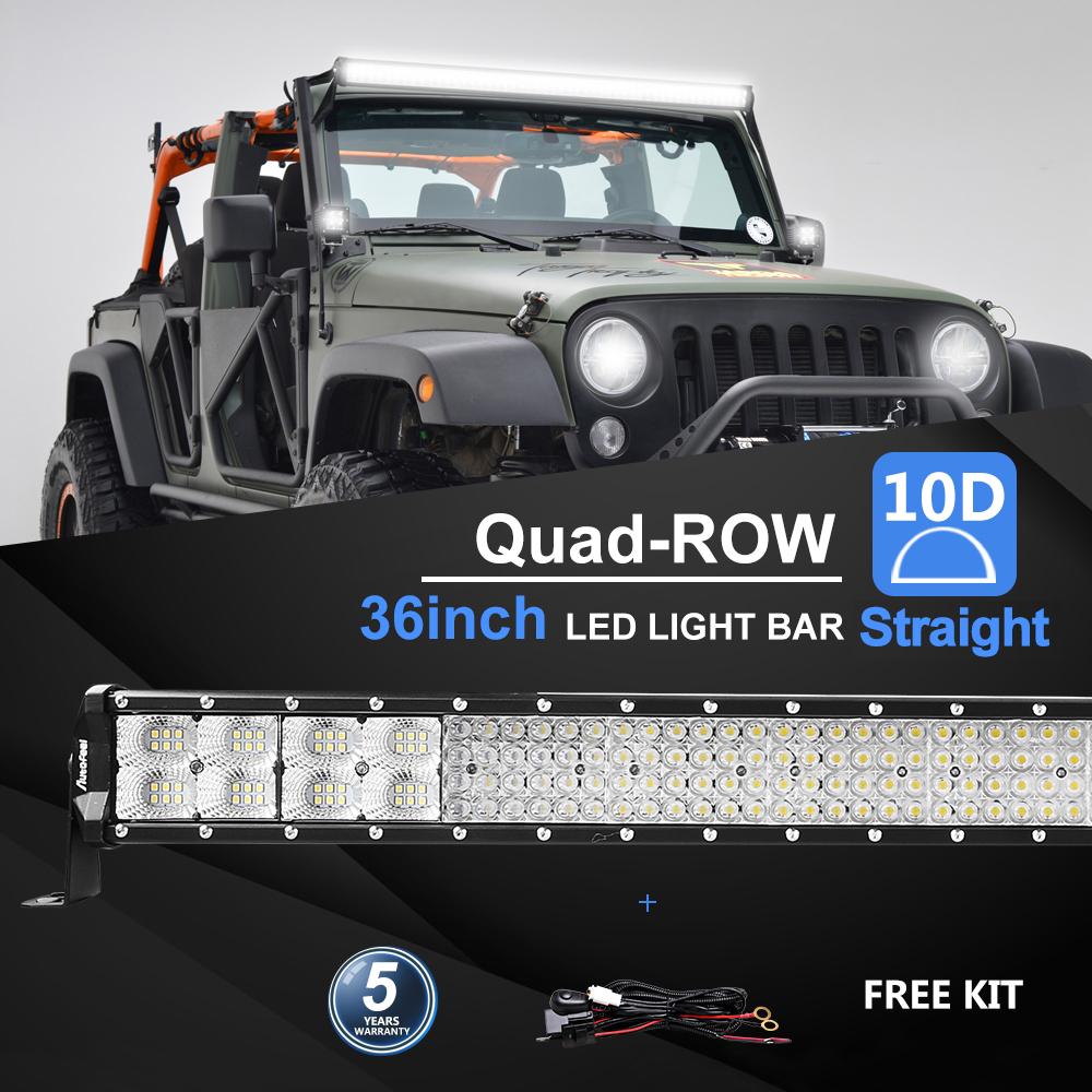 2X Autofeel 36inch 4368W LED Light Bar Spot Flood Quad-Row Offroad Truck Car 4WD
