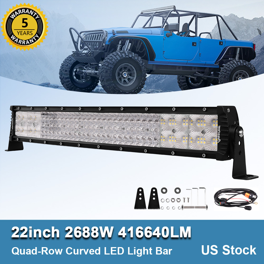 "17/"" Led Work Light Bar+Wiring Kit Bumper Fog Driving for Honda PIONEER TRX250"
