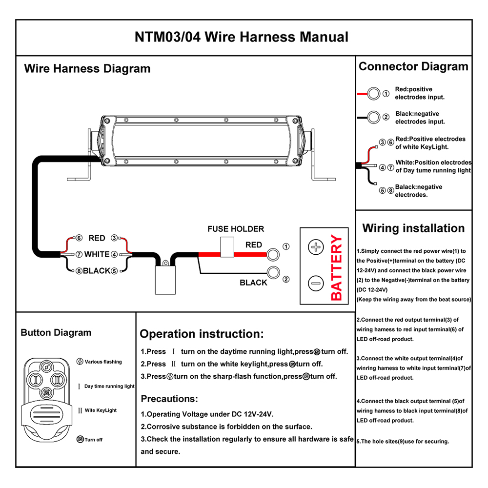 Wiring Diagram For Light : Autofeel wire harness with wireless remote on off for led