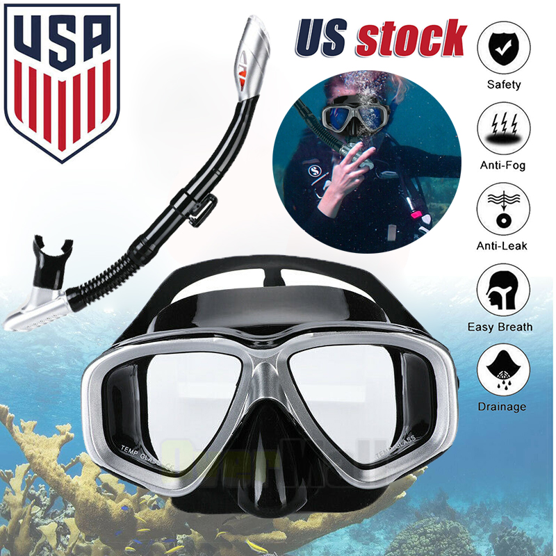Adult Totally Dry Purge Valve Diving Scuba Snorkel Swimming Snorkeling PVC