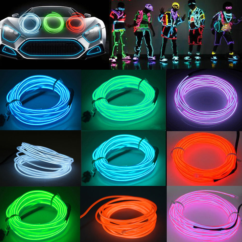3-15 ft LED EL Wire Neon Glow String Strip Light Rope Controller Car ...