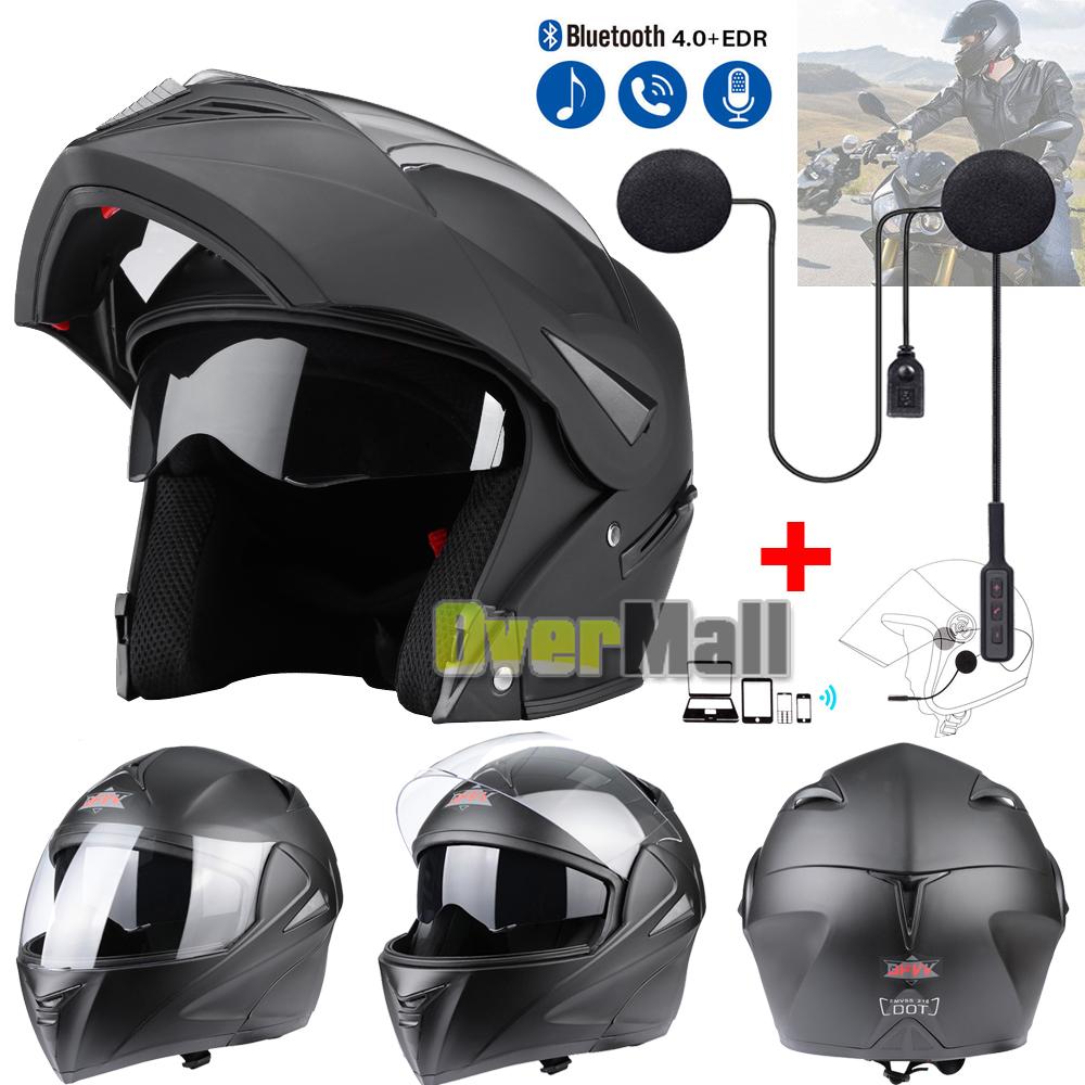 98ff55c4 DOT Matte Black Full Face Motorcycle Helmet Modular Flip Up Dual Visor Bike  Race