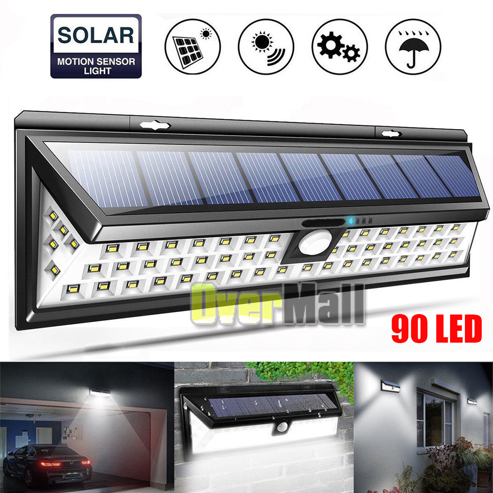 48//90//118//144 LED Solar Powered PIR Motion Sensor Wall Light Outdoor Garden Lamp