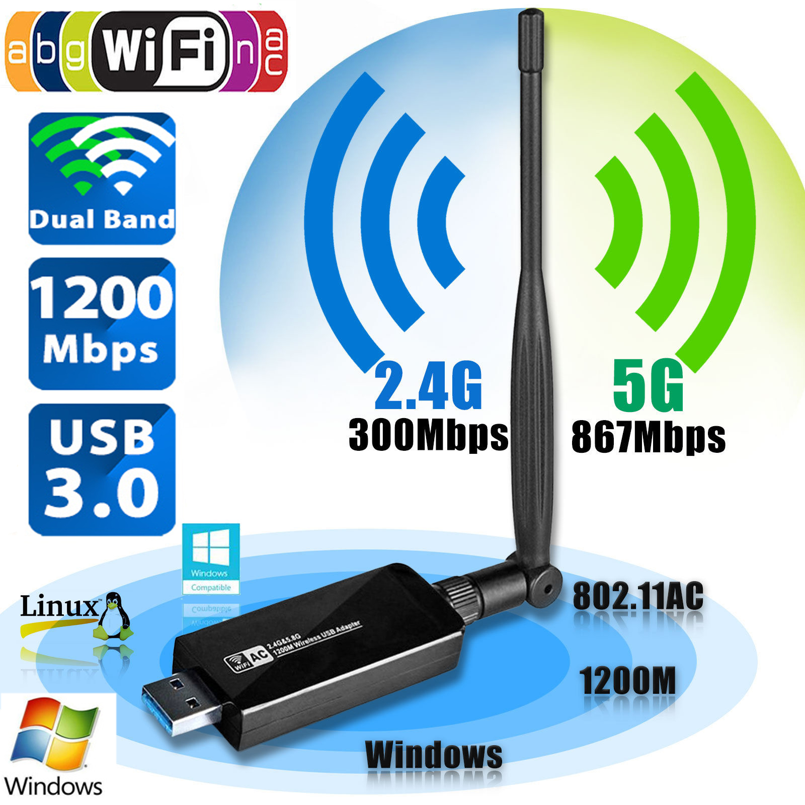 1200Mbps 2.4GHz//5.8GHz Dual Band 802.11ac Wireless USB 3.0 WIFI Adapter
