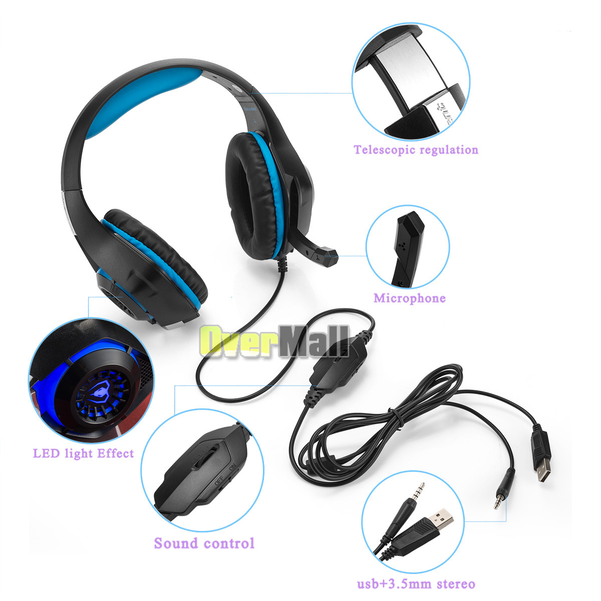 Gaming Headset Stereo Surround Headphone 3.5mm Wired W/ Mic For PS4 ...