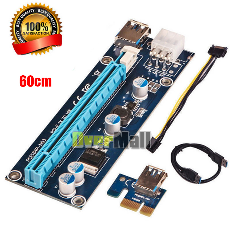 Lots USB3.0 1x to16x Adapter Extender Riser Card 6PIN Cable PCI-E Express Mining