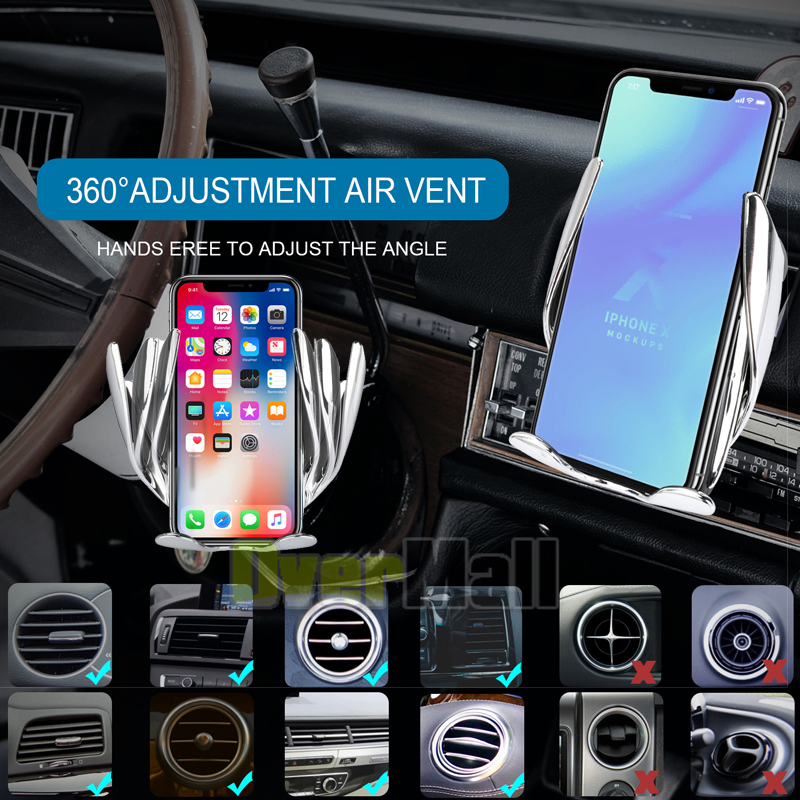 Smart Automatic Clamping Wireless Car Charger Infrared Auto