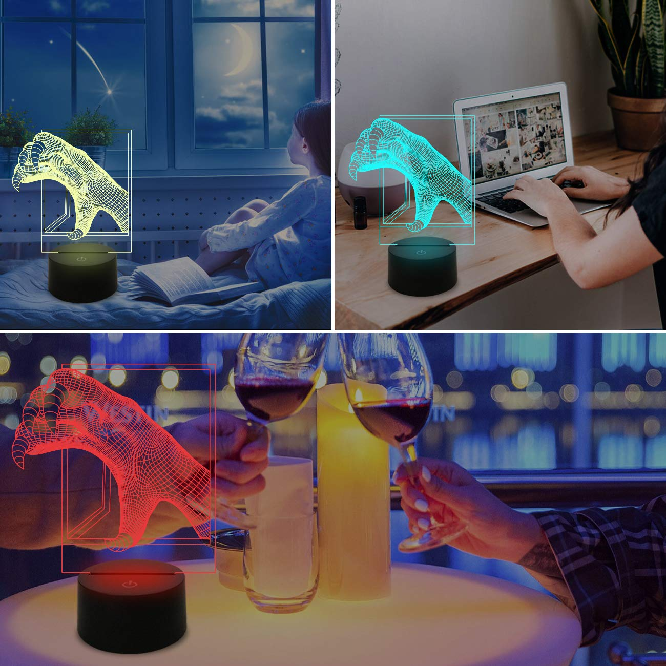 3D Night Light for Room Deco,Animal Paw Illusion Lamp for Birthday Cool Gift