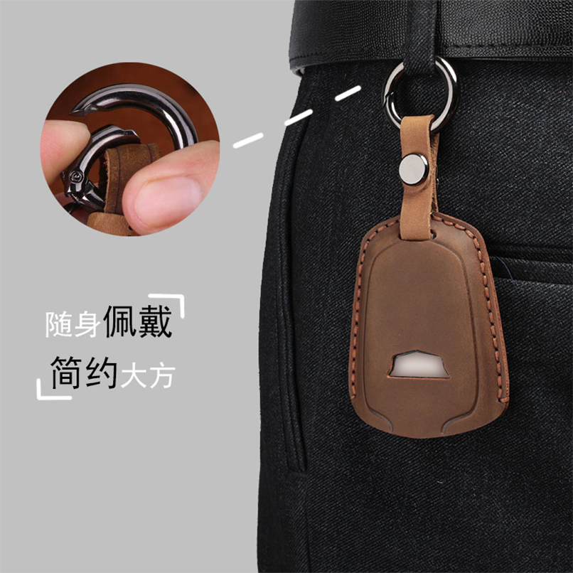 Handmade Leather Car Key Fob Cover Case Chain For Cadillac