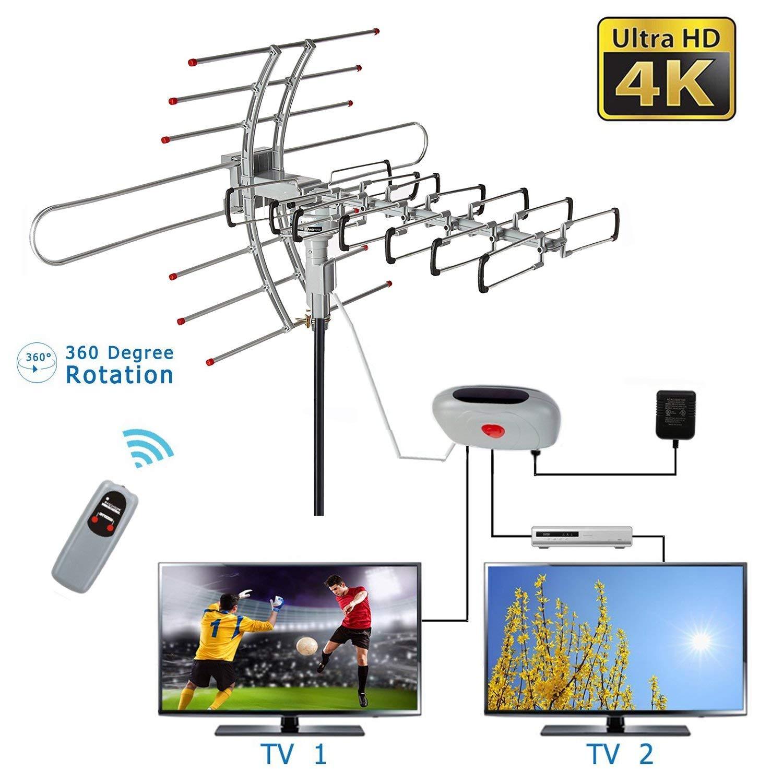 HDTV Outdoor Attic Amplified Antenna 36dB Rotor Remote 360
