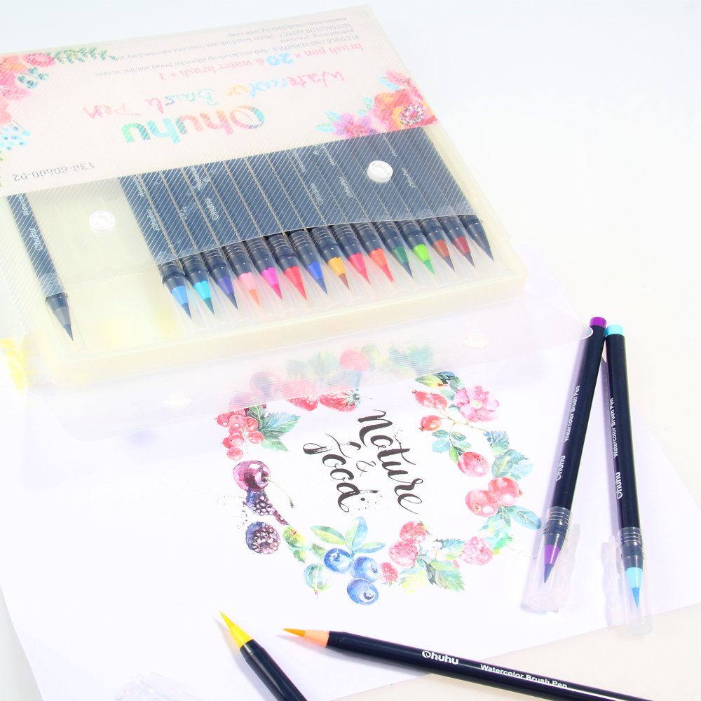20 Art Soft Brush Colored Watercolor Pen Markers Set
